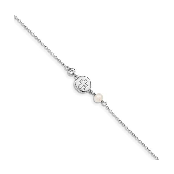 Sterling Silver RH-Plated CZ/Cross/FWC Pearl With 2in Ext Bracelet Coughlin Jewelers St. Clair, MI