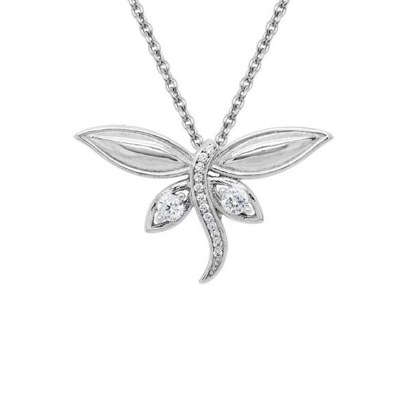 Sterling Silver Dragonfly Pendant with CZ's Coughlin Jewelers St. Clair, MI