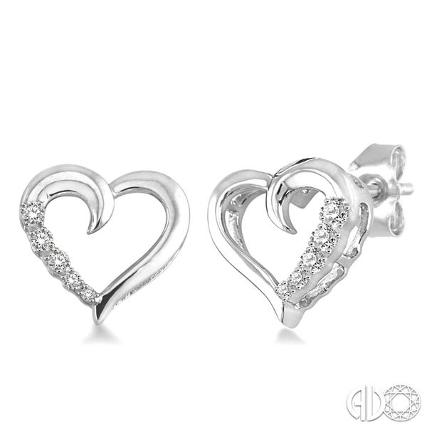 Silver Journey Heart Shape Diamond Earrings Coughlin Jewelers St. Clair, MI
