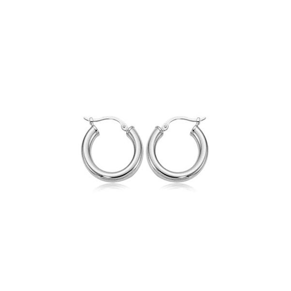 Sterling Silver 3 x 18mm S/D Tube Hoop Earrings Coughlin Jewelers St. Clair, MI