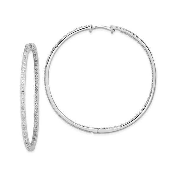 Sterling Silver Rhodium-Plated Diamond In And Out Hoop Earrings Coughlin Jewelers St. Clair, MI