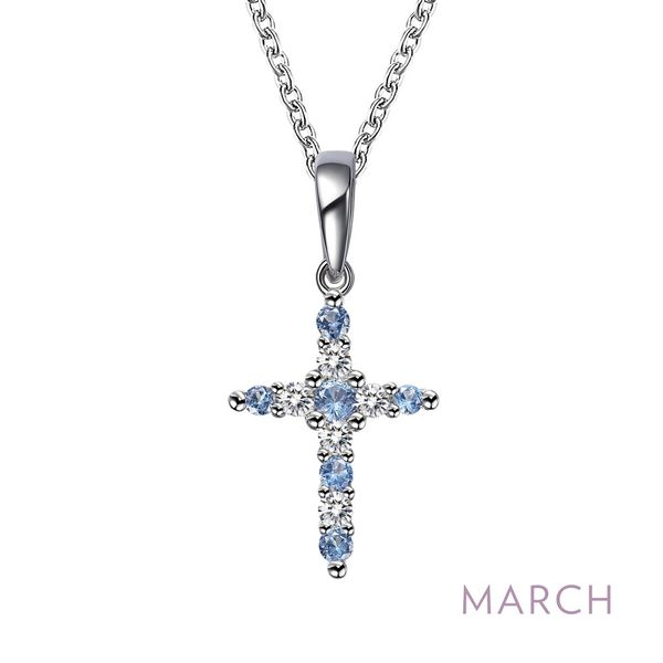 March Birthstone Cross Necklace Coughlin Jewelers St. Clair, MI