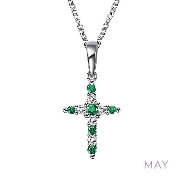 May Birthstone Cross Necklace Coughlin Jewelers St. Clair, MI