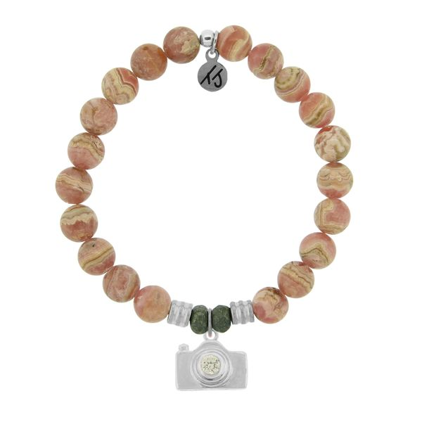 Rhodochrosite Stone Bracelet with Camera Sterling Silver Charm Coughlin Jewelers St. Clair, MI