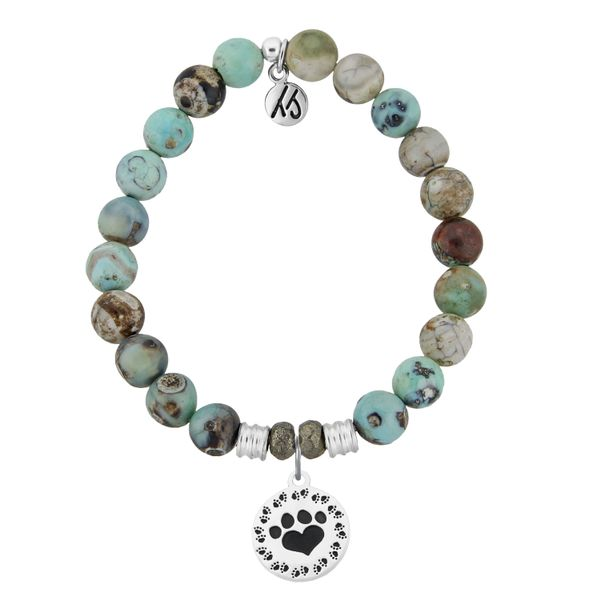 Turquoise Jasper Stone Bracelet with Paw Print Sterling Silver Charm Coughlin Jewelers St. Clair, MI