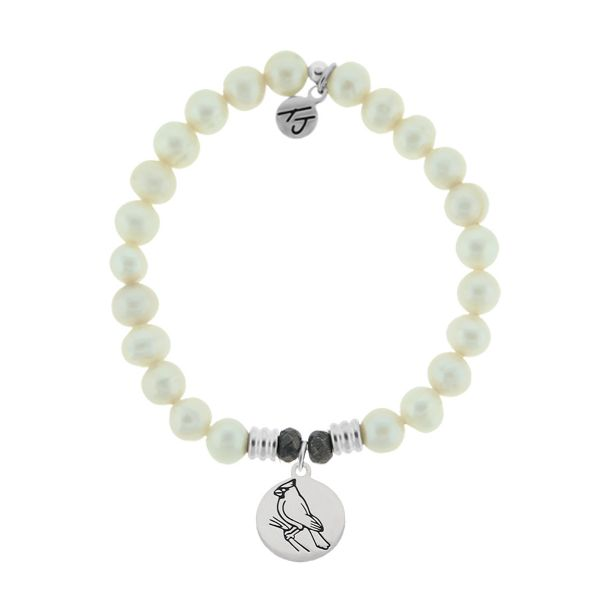 White Pearl Stone Bracelet with Cardinal Sterling Silver Charm Coughlin Jewelers St. Clair, MI