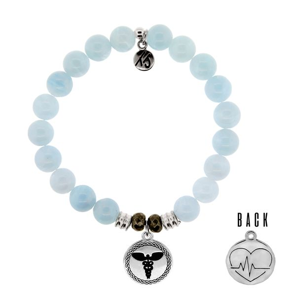 Blue Aquamarine Stone Bracelet with Caduceus Sterling Silver Charm Coughlin Jewelers St. Clair, MI