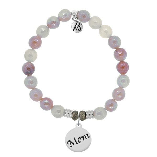Sunstone Stone Bracelet with Mom Endless Love Sterling Silver Charm Coughlin Jewelers St. Clair, MI