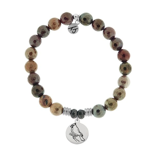 Mookaite Stone Bracelet with Cardinal Sterling Silver Charm Coughlin Jewelers St. Clair, MI