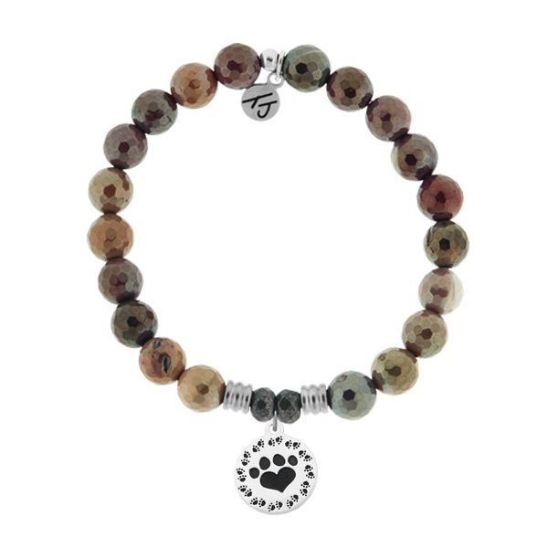 Mookaite Stone Bracelet with Paw Print Sterling Silver Charm Coughlin Jewelers St. Clair, MI