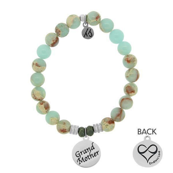 Desert Jasper Stone Bracelet with Grandmother Endless Love Sterling Silver Charm Coughlin Jewelers St. Clair, MI