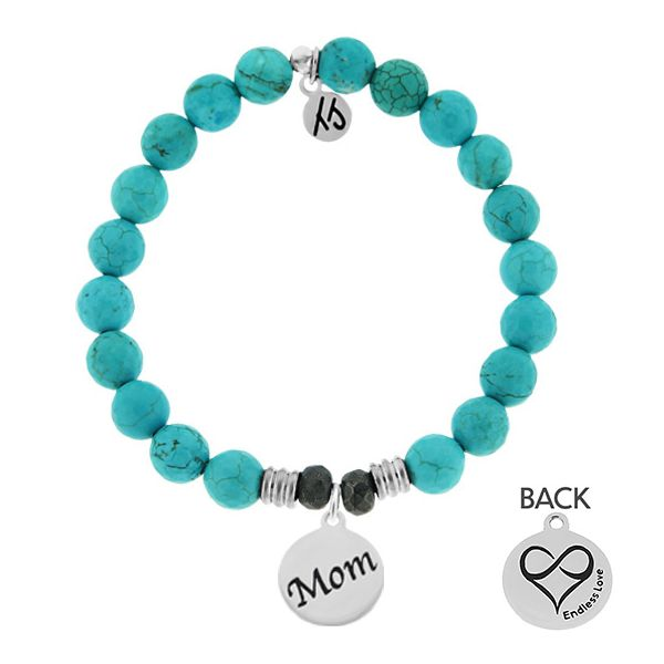 Turquoise Stone Bracelet with Mom Endless Love Sterling Silver Charm Coughlin Jewelers St. Clair, MI