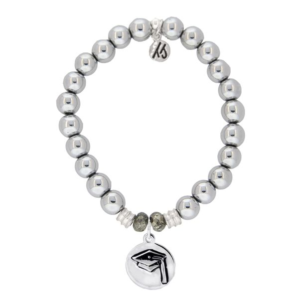 Hematite Stone Bracelet with Grad Cap Sterling Silver Charm Coughlin Jewelers St. Clair, MI