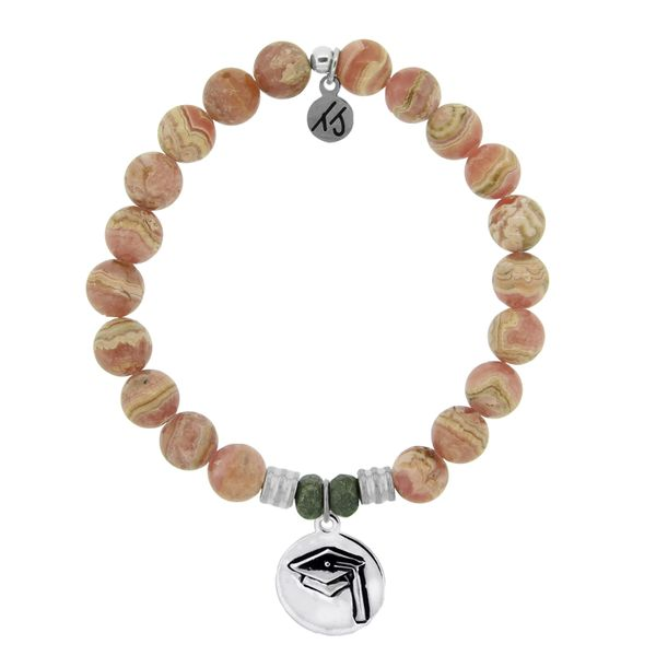 Rhodochrosite Stone Bracelet with Grad Cap Sterling Silver Charm Coughlin Jewelers St. Clair, MI