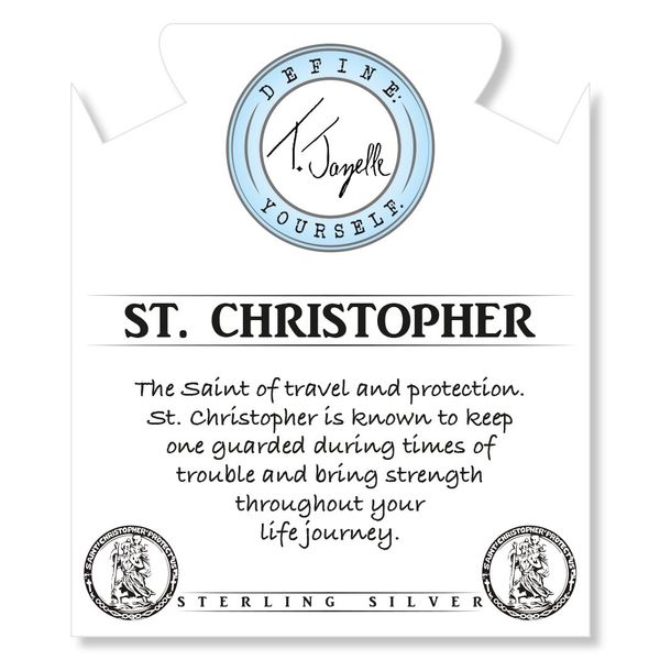 Sunstone Stone Bracelet with Saint Christopher Sterling Silver Charm Image 2 Coughlin Jewelers St. Clair, MI
