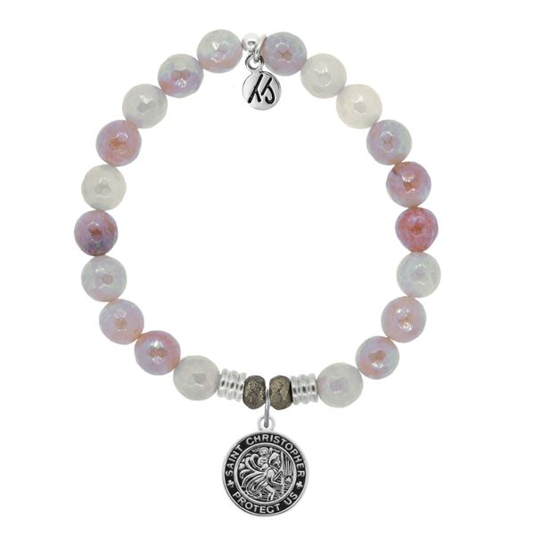 Sunstone Stone Bracelet with Saint Christopher Sterling Silver Charm Coughlin Jewelers St. Clair, MI