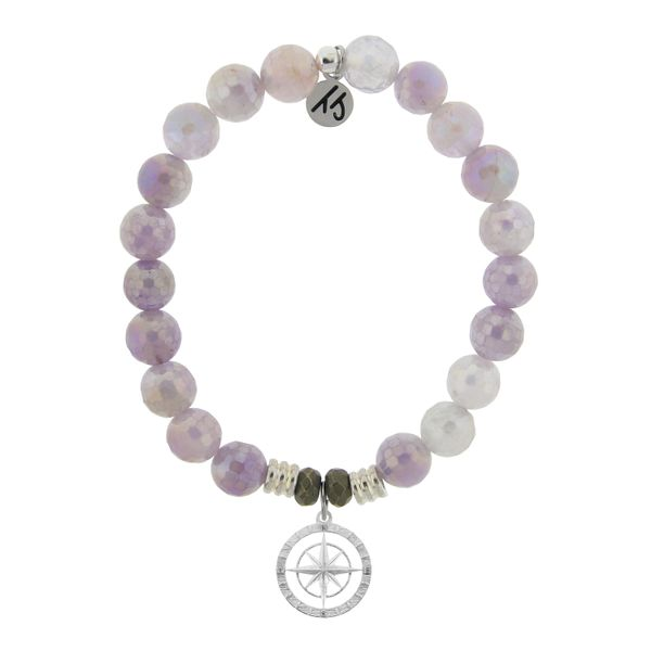 Mauve Jade Stone Bracelet with Compass Rose Sterling Silver Charm Coughlin Jewelers St. Clair, MI