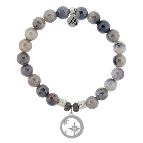 Storm Agate Stone Bracelet with What is Meant to Be Sterling Silver Charm Coughlin Jewelers St. Clair, MI