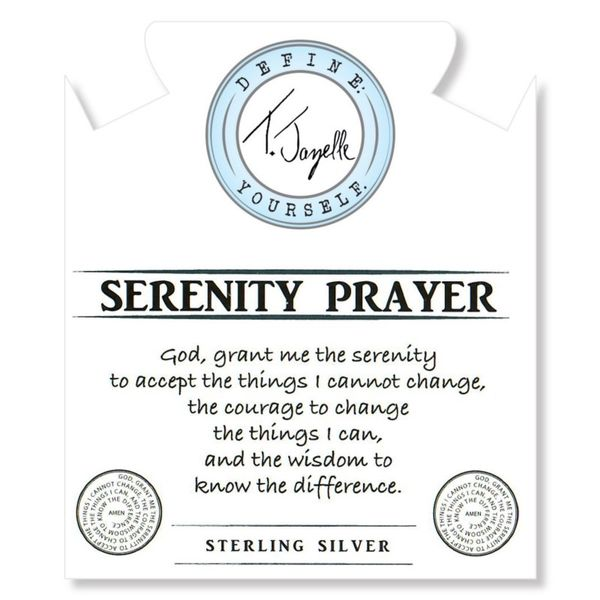 Sage Amethyst Agate Stone Bracelet with Serenity Prayer Sterling Silver Charm Image 2 Coughlin Jewelers St. Clair, MI