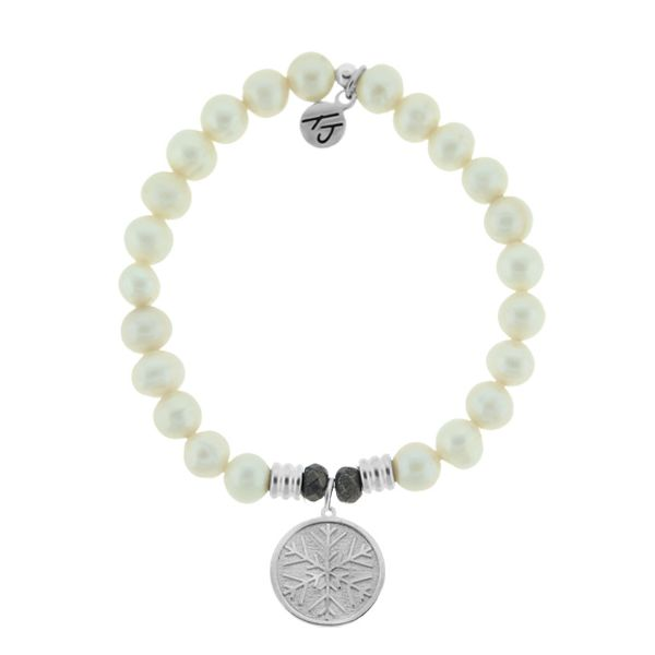 White Pearl Stone Bracelet with Snowflake Sterling Silver Charm Coughlin Jewelers St. Clair, MI