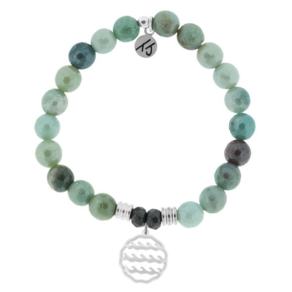 Amazonite Stone Bracelet with Waves of Life Sterling Silver Charm Coughlin Jewelers St. Clair, MI