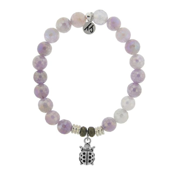 Mauve Jade Stone Bracelet with Ladybug Sterling Silver Charm Coughlin Jewelers St. Clair, MI