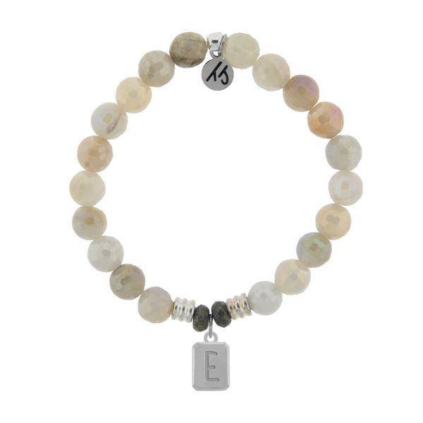 Initially Your's Moonstone Bracelet with Letter E Sterling Silver Charm Coughlin Jewelers St. Clair, MI