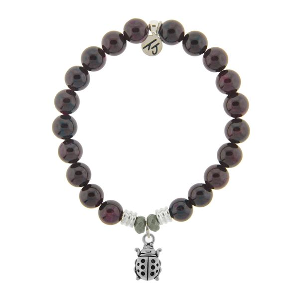 Garnet Stone Bracelet with Ladybug Sterling Silver Charm Coughlin Jewelers St. Clair, MI