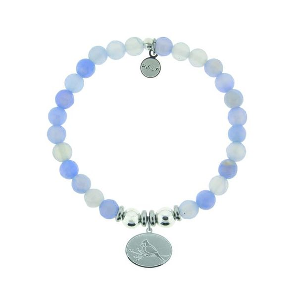 HELP Collection: Cardinal Charm with Sky Blue Agate Beads Charity Bracelet Coughlin Jewelers St. Clair, MI
