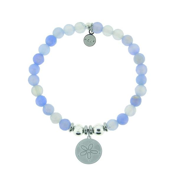 HELP Collection: Sand Dollar Charm with Sky Blue Agate Beads Charity Bracelet Coughlin Jewelers St. Clair, MI