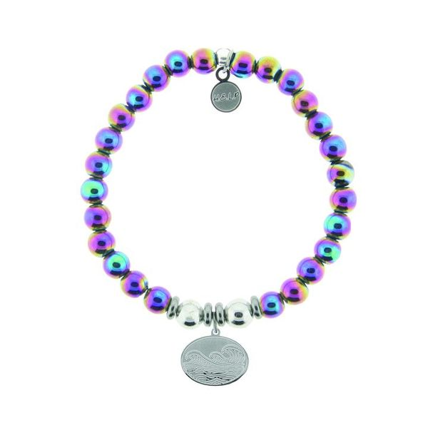 HELP Collection: Wave Charm with Rainbow Hematite Beads Charity Bracelet Coughlin Jewelers St. Clair, MI