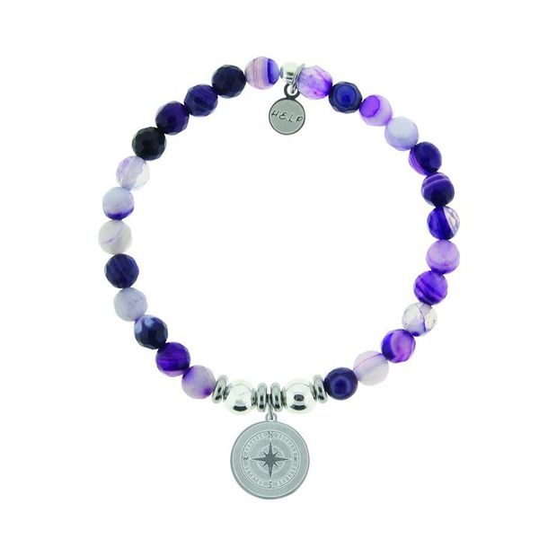 HELP Collection: Compass Charm with Purple Stripe Agate Beads Charity Bracelet Coughlin Jewelers St. Clair, MI
