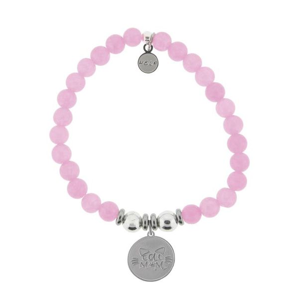 HELP Collection: Cat Mom Charm with Pink Agate Beads Charity Bracelet Coughlin Jewelers St. Clair, MI