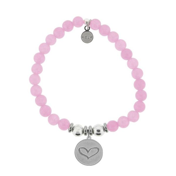 HELP Collection: Heart Charm with Pink Agate Beads Charity Bracelet Coughlin Jewelers St. Clair, MI