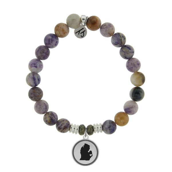 Coughlin Jewelers Exclusive - My Heart is in Michigan Bracelet (Sage Amethyst Agate) Coughlin Jewelers St. Clair, MI