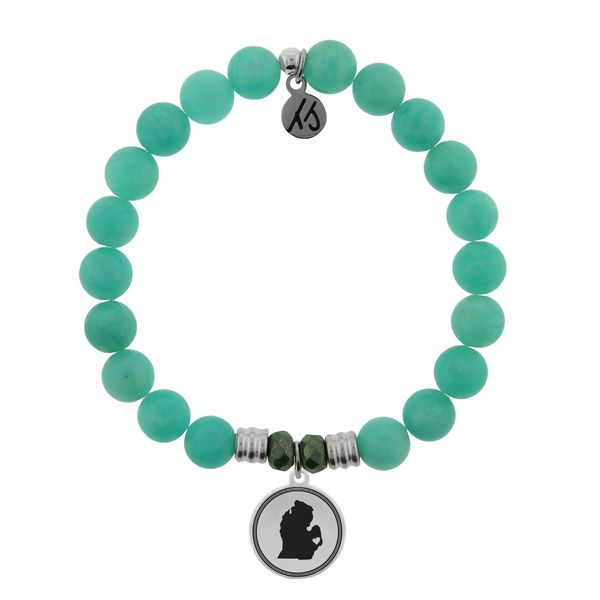 Coughlin Jewelers Exclusive - My Heart is in Michigan Bracelet (Peruvian Amazonite) Coughlin Jewelers St. Clair, MI