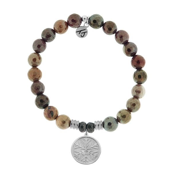 Mookaite Stone Bracelet with Snowflake Sterling Silver Charm (LG) Coughlin Jewelers St. Clair, MI