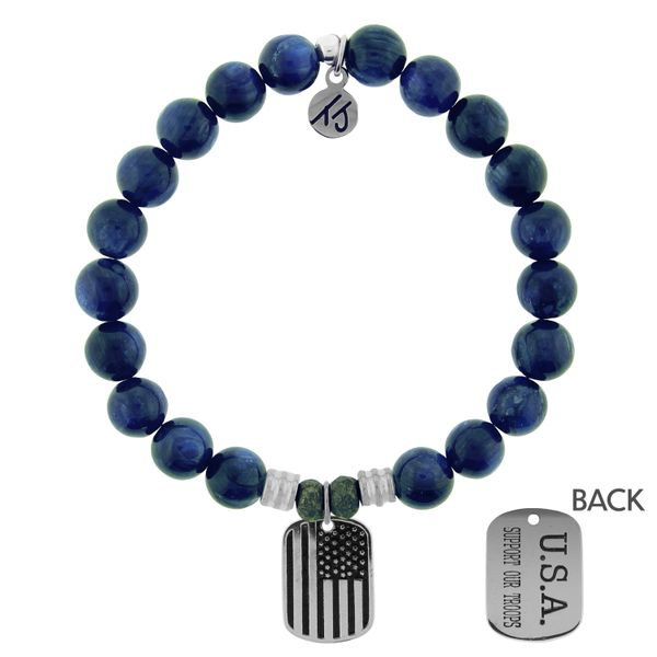 Kyanite Stone Bracelet with Support Our Troops Sterling Silver Charm Coughlin Jewelers St. Clair, MI