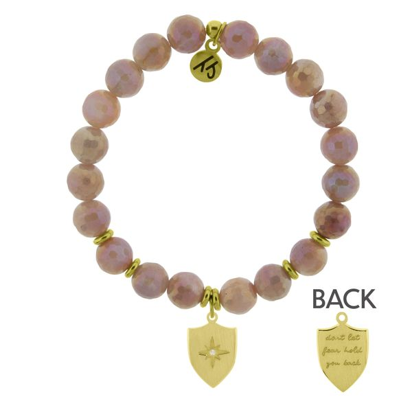 Gold Collection - Orange Moonstone Stone Bracelet with Shield of Strength Gold Charm Coughlin Jewelers St. Clair, MI