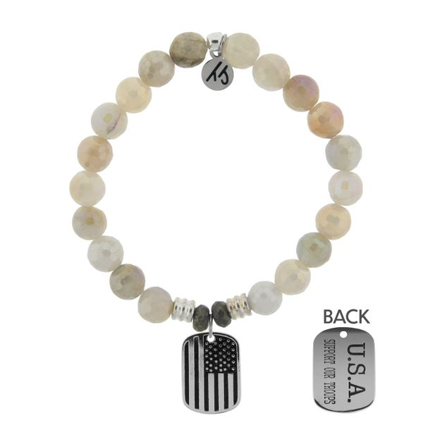 Moonstone Bracelet with Support our Troops Sterling Silver Charm Coughlin Jewelers St. Clair, MI