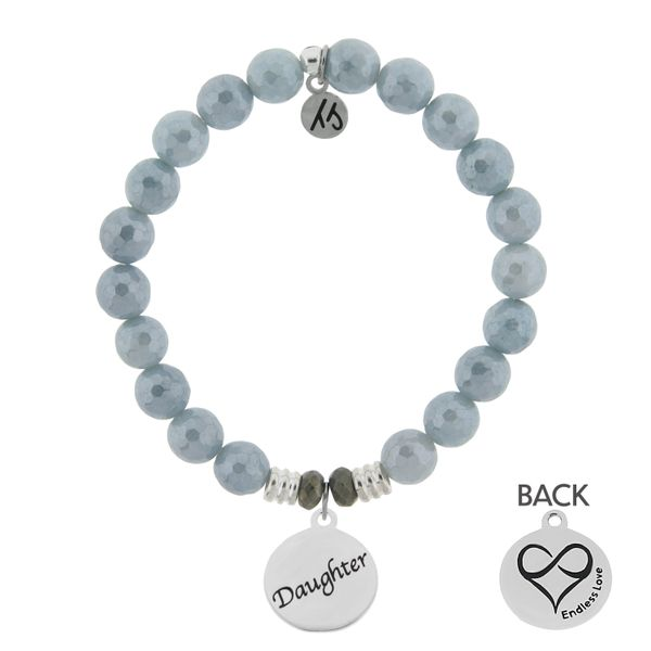 Blue Quartzite Stone Bracelet with Daughter Endless Love Sterling Silver Charm Coughlin Jewelers St. Clair, MI