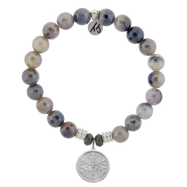 Storm Agate Stone Bracelet with Snowflake Sterling Silver Charm Coughlin Jewelers St. Clair, MI