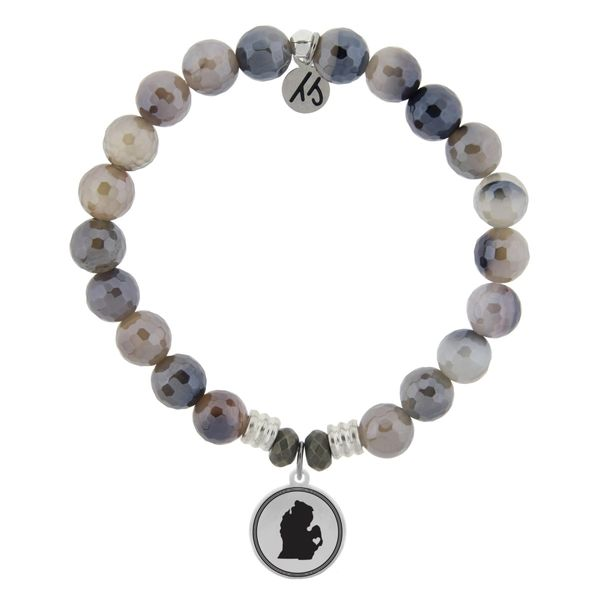 Coughlin Jewelers Exclusive - My Heart is in Michigan Bracelet (Storm Agate) Coughlin Jewelers St. Clair, MI