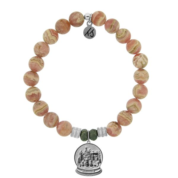 Rhodochrosite Stone Bracelet with Winter Wonderland Sterling Silver Charm Coughlin Jewelers St. Clair, MI
