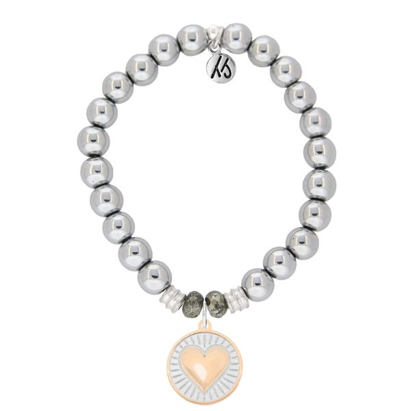 Silver Steel Bracelet with Heart of Gold Sterling Silver Charm Coughlin Jewelers St. Clair, MI
