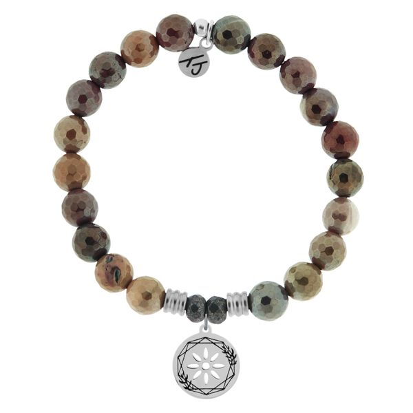 Mookaite Stone Bracelet with Thank You Sterling Silver Charm Coughlin Jewelers St. Clair, MI