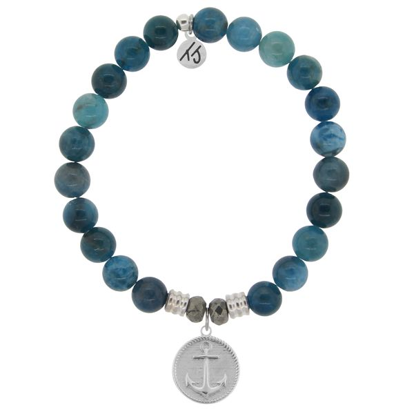 Arctic Apatite Stone Bracelet with Anchor Sterling Silver Charm (LG) Coughlin Jewelers St. Clair, MI