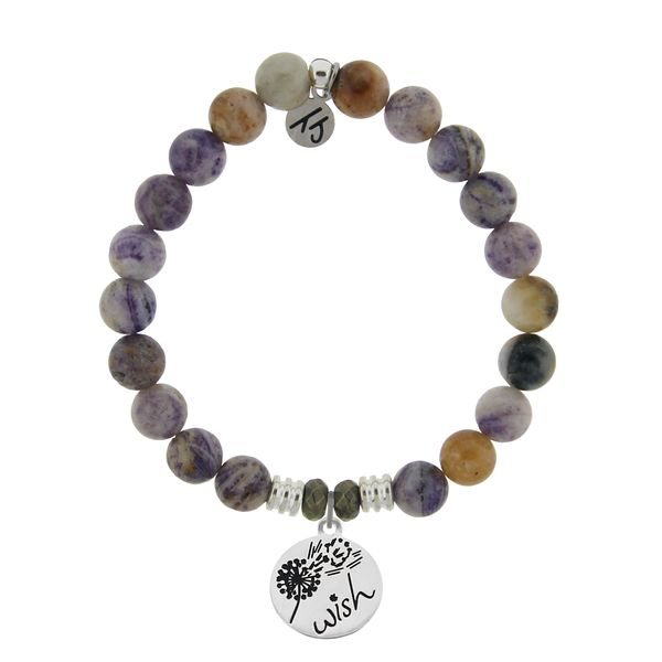 Sage Amethyst Agate Stone Bracelet with Wish Sterling Silver Charm Coughlin Jewelers St. Clair, MI