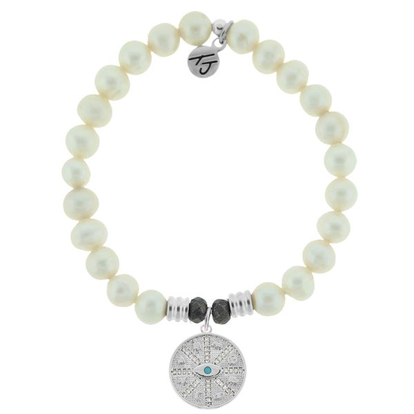 White Pearl Stone Bracelet with Protection Sterling Silver Charm Coughlin Jewelers St. Clair, MI