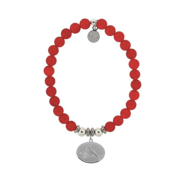 HELP Collection: Cardinal Charm with Red Jade Beads Charity Bracelet Coughlin Jewelers St. Clair, MI